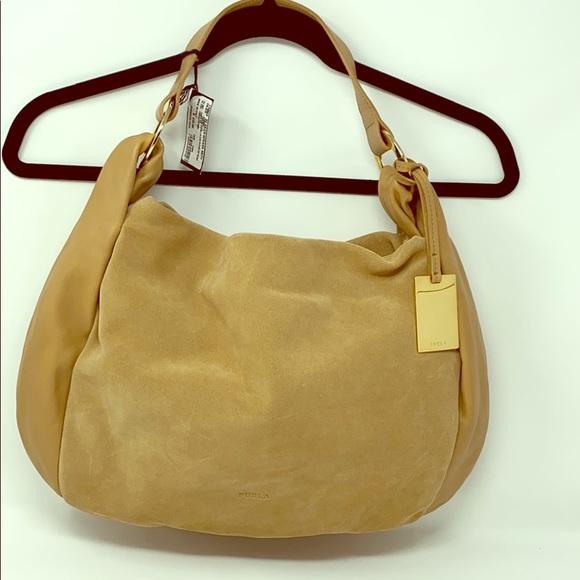 Furla Handbags - Furla Suede and Leather Hobo Bag in Camel